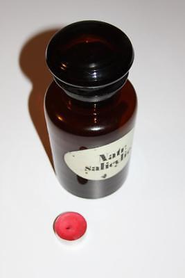 Apothekerflasche, Form selten, rund, alt, NATR. SALICYLIC SCHLIFF STOPFEN breite