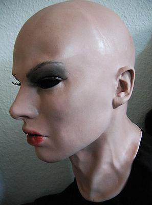 Latexmaske EMILIA B +WIMPERN - Real. weibliche Frauenmaske Gesicht Crossdresser