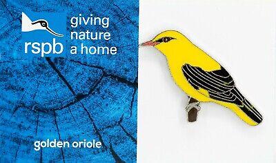RSPB Pin Badge | golden oriole | on GNaH BLUE [01653] 2