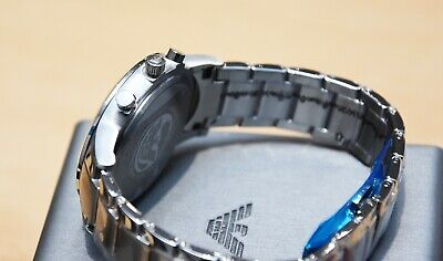 New Genuine Emporio Armani Mens Ar2448 Watch Blue Dial Stainless Steel £319 Rrp 9
