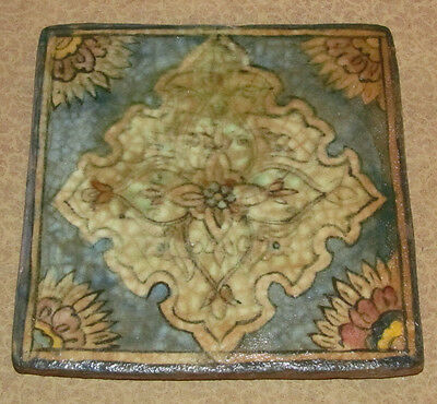Antique Oriental Persian Middle Eastern Tile with Floral Motif 2