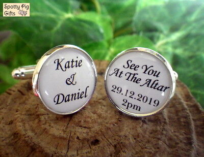 Personalised Cufflinks Wedding, Gift From Bride to Groom, Names Date Time, Mens 3