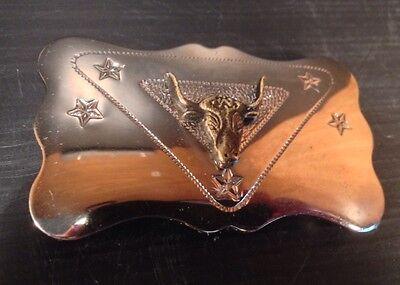 Vintage Chambers Belt Co. Chrome Raised Steer Head Bull/Longhorn Belt Buckle! 3
