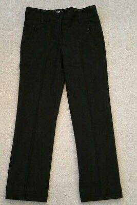 M&S girls lovely smart black Fitted trousers Age 7-8Yrs in vgc as shown 2