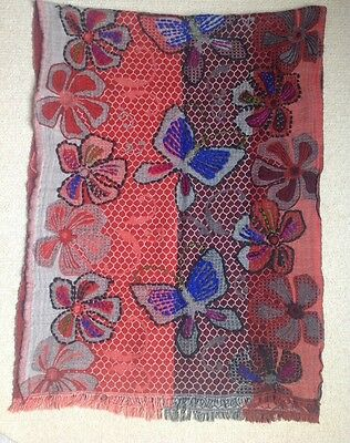 Stunning Indian Red Blue Brown Wool Shawl With Flower & Butterfly Design 2