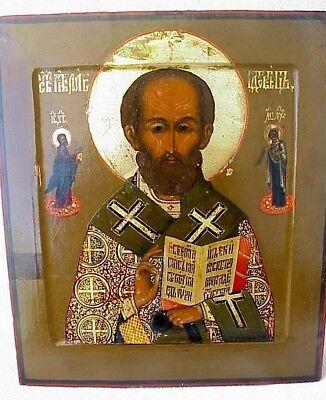 19c. RUSSIAN IMPERIAL GOLD ICON ORTHODOX BISHOP NICOLAS MYRA WOOD EGG TEMPERA 2