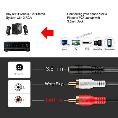 3.5mm Female To 2 RCA Male Aux Auxiliary Gold Plated Stereo Audio Adapter Cable
