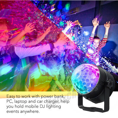 USB RGB LED Disco Ball DJ Party Light Effect Strobe Remote Sound Activated Auto 3