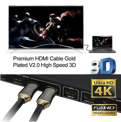 New HDMI Premium Cable V2.0 Gold Plated High Speed Audio 3D 4K Ultra HD 1m~20m 3