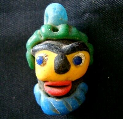 Antique Phoenician yellow face Blue Beard Mosaic Glass Bead Pendant 410 2