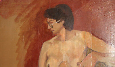 Vintage European large oil painting nude 9