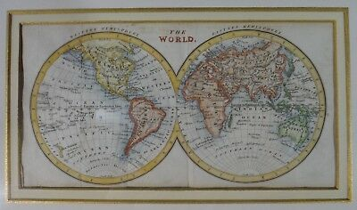 Antique 18th c. Map of the World, West & East hemispheres. Hand Colored
