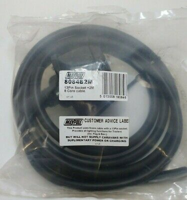 13 Pin Trailer Socket Pre-Wired Cable 12N 8 Core Cable Towing Maypole Mp8084B2M 2