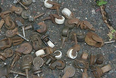 95 Antique Industrial Casters  Furniture Cabinets Wood & Metal Porcelain Wheels 3