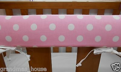 Cot Rail Cover Crib Teething Pad Spots on Baby Pink SET OF TWO