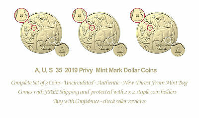Set 2019 UNC, A, U, S Privy Mark $1 One Dollar Discovery Australian Coins 2