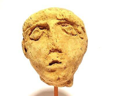 Head Greek Antique - 3° S.Front Jc - Ancient Greek Terracotta Head 400 BC 6