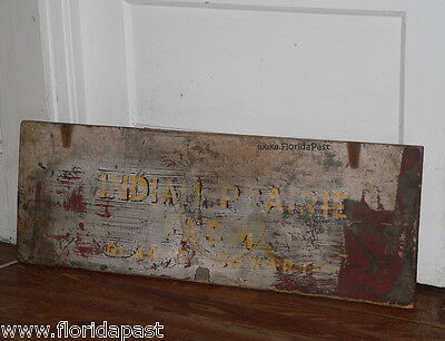 Antique INDIAN PRAIRIE FARM GLADYS COWART Trade Sign Lid Marion County Florida 4