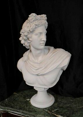 Italian Carved Bust Apollo Faux Marble Interiors 9