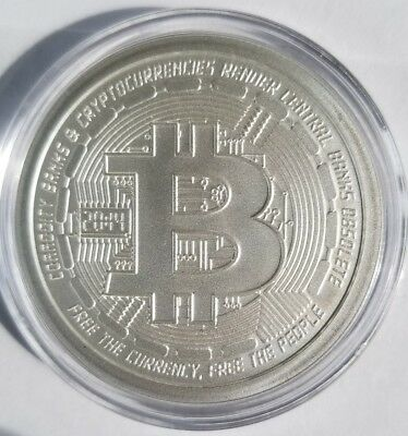 Bitcoin 1 oz 999 fine Solid silver bu commemorative limit crypto currency Framed 2