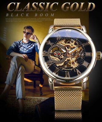 Men Skeleton Mechanical Wrist Watch Stainless Steel Luxury Steampunk Wristwatch 6
