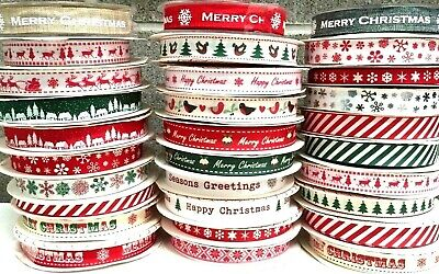 Happy Merry Christmas Ribbons Snowflakes Ribbon Gift Wrapping  1 , 3 or 5 Metres 3