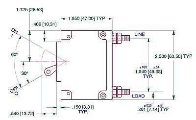 MIDNITE SOLAR 15 AMP DC Panel Mount Circuit Breaker MNEDC-15  - FREE SHIPPING! 3