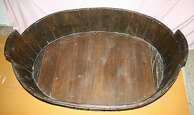 Antique Victorian huge unusual vernacular barrel log basket dog bed bath cot