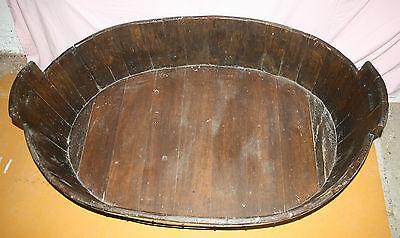 Antique Victorian huge unusual vernacular barrel log basket dog bed bath cot 3