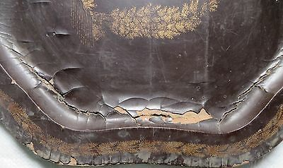 Antique BLACK LACQUER Gold PAINTED Wood Serving Tray Mughal ISLAMIC Persian 3