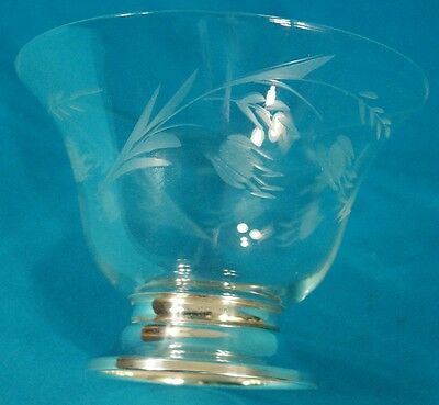 Sterling Silver Footed Etching Glass Bowl 6