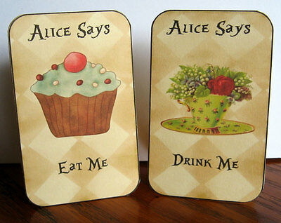 """Alice in Wonderland 10 cupcake topper eat me 2/"""" pictures on both sides glossy"""