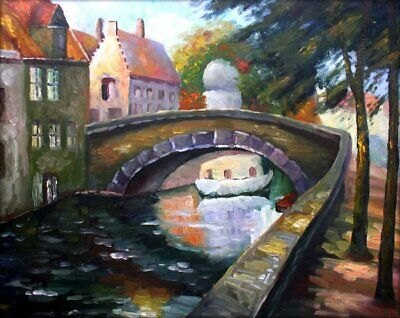 Framed, Quality Hand Painted Oil Painting Stone Bridge over Waterway, 20x24in 2