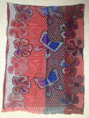Stunning Indian Red Blue Brown Wool Shawl With Flower & Butterfly Design 5