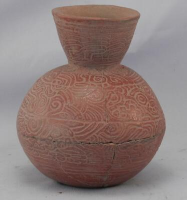 Antique Mayan Pre Columbian Pottery~Incised Red Vessel~Image of An Elephant! 5