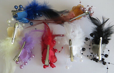 1 Bridesmaids,Flower Feather Bead Corsage Hair Clips Fascinator Hairband and Pin 2