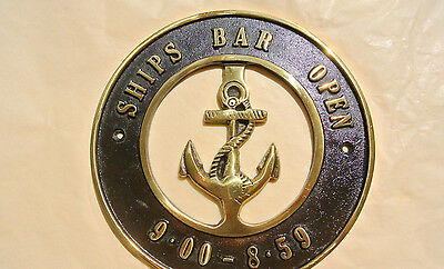 "solid BRASS SIGN Ships Bar Open 6.1/2 "" ship Anchor funny decor screwsl heavy B 4"