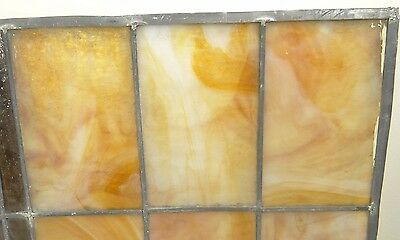 GEOMETRIC RECTANGULAR LEADED-STAINED GLASS WINDOW~HEAVY OBSCURITY~Art Deco 22x15 8