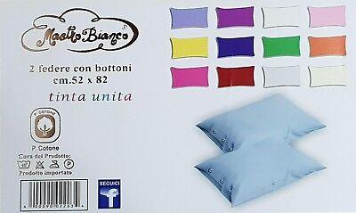 coppia federe cuscini letto con bottoni in cotone tinta unita guanciale 52x82 cm 4