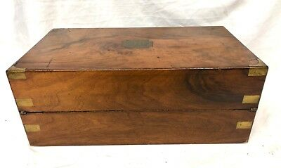 Antique Victorian Walnut & Brass Campaign Writing Box Slope SECRET DRAWERS 4