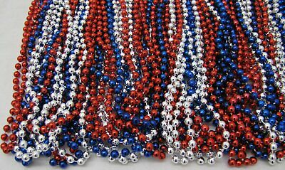 Mardi Gras Beads Red Blue Silver USA Troops July 4th Parade 6 Dozen 72 NECKLACES 3
