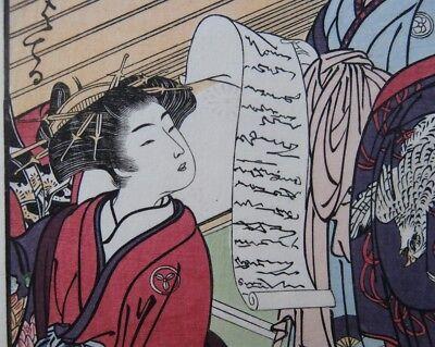 Japanese Prostitutes Woodblock Print Artists Shigemasa & Shunsho Makeup Scroll 6