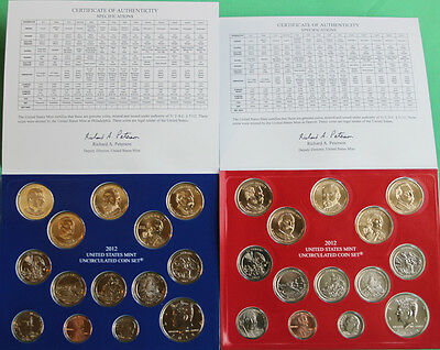 2012 ANNUAL US Mint Uncirculated Coin Set 28 P and D Minted Coins with COA 2