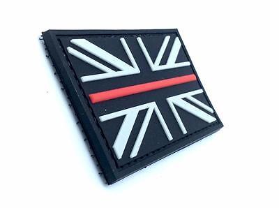 Black Union Jack Thin Blue Line Flag Airsoft Morale PVC Patch