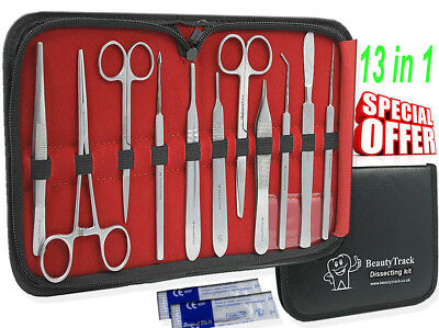 Prof. 13 Pcs MEDICAL DISSECTING KIT Surgical Anatomy Instruments SET Basic DE 3