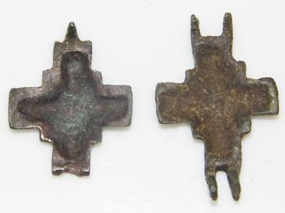 Medieval Byzantine Enkolpion Reliquary Cross Crucifix Bronze Enamel Theca Relic