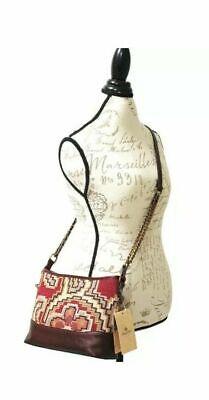 NWT Patricia Nash Crossbody Bag Shoulder Handbag Tapestry Leather burgundy brown 10