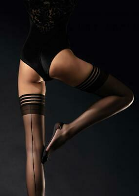 Fiore Femme Fatale Cuben Heel Backseam Stay Up Thigh High Stockings   5 Sizes 2