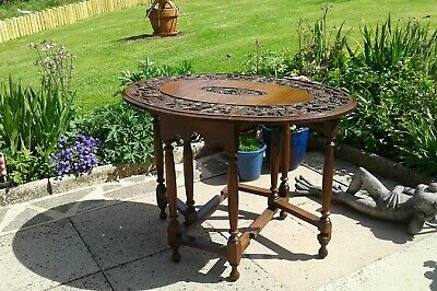 Antique Gateleg Oak Table  Drop Leave Table With Chinese  carved Top☆Very Rare 2