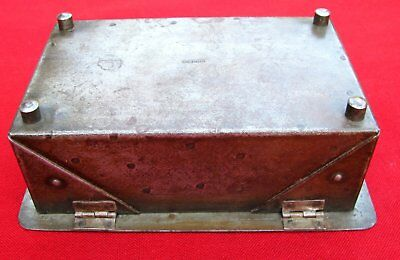 Antique Signed Scarce Small Hand Wrought Iron Box  By Goberg ~ Circa 1915 7